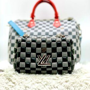 Louis Vuitton Calfskin Damier Twist BB bag black/w